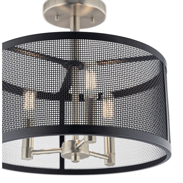 Edmund 3 Light Drum Semi Flush Satin Black
