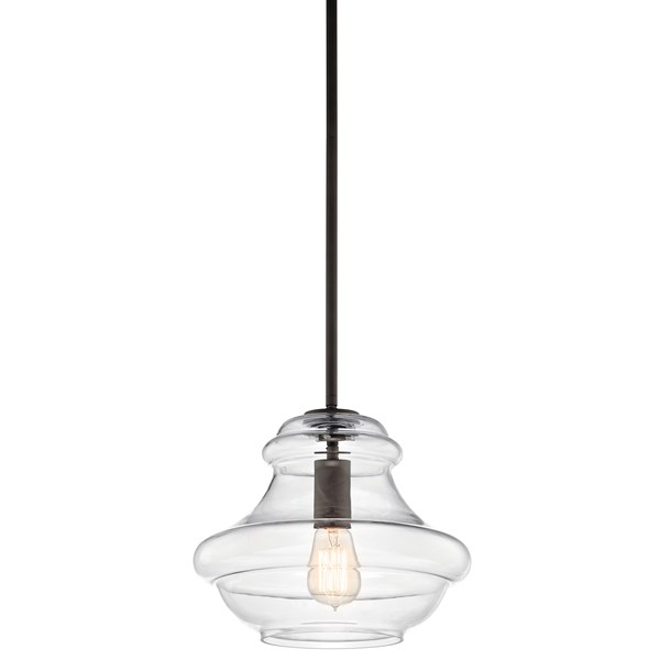 "Everly™ 10.25"" 1 Light Schoolhouse Pendant Clear Glass Olde Bronze®"