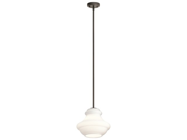 "Everly™ 10.25"" 1 Light Schoolhouse Pendant Satin Etched Cased Opal Glass Olde Bronze®"