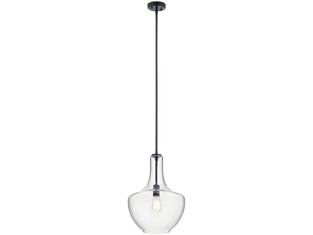 "Everly 19.75"" 1 Light Bell Pendant Clear Glass Black"