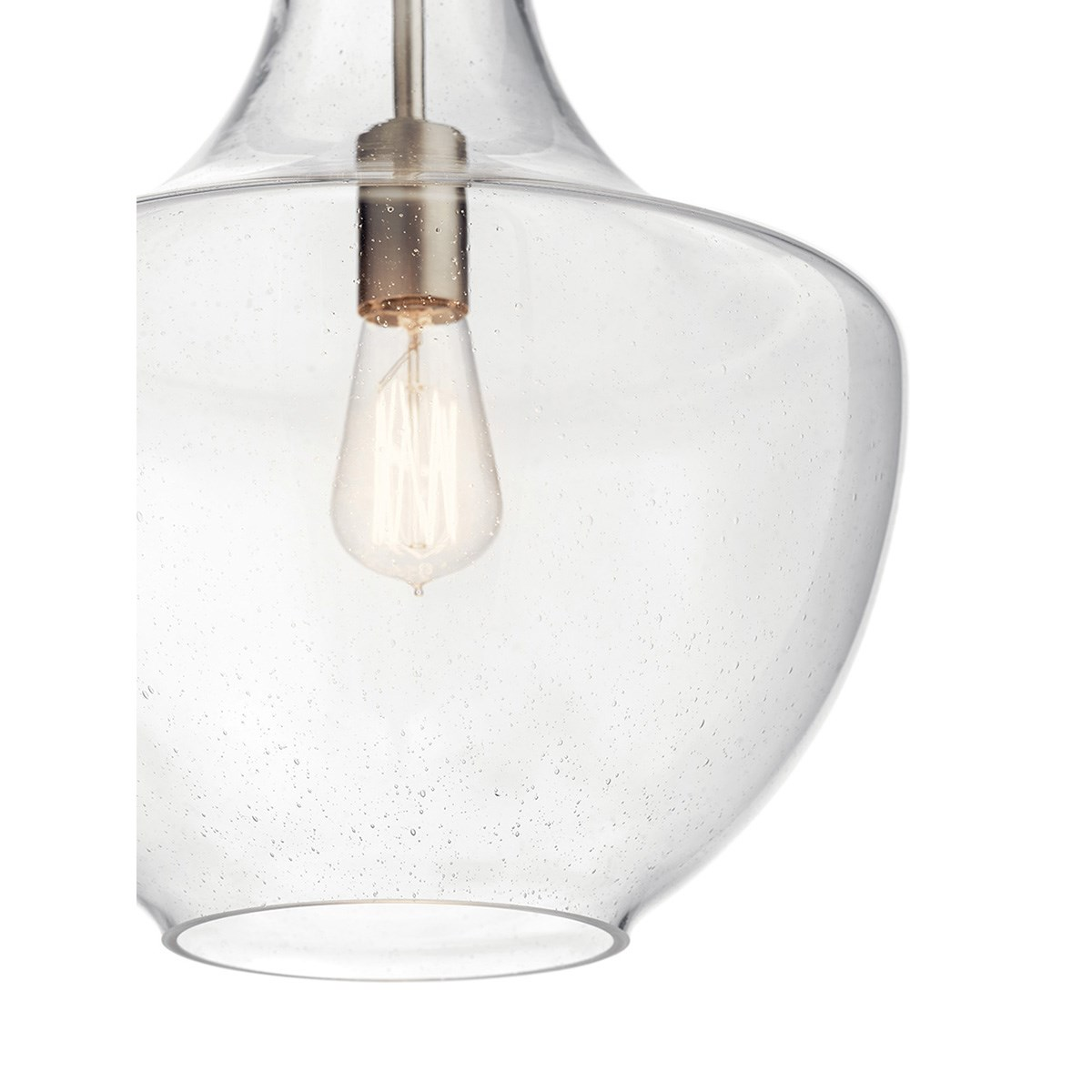 Everly 19 75 1 Light Lamp Shape Pendant Clear Seeded Glass Brushed Nickel Kichler Lighting