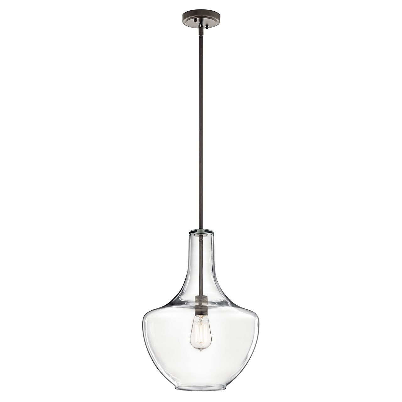 Everly 19 75 1 Light Pendant Clear Gl Olde Bronze