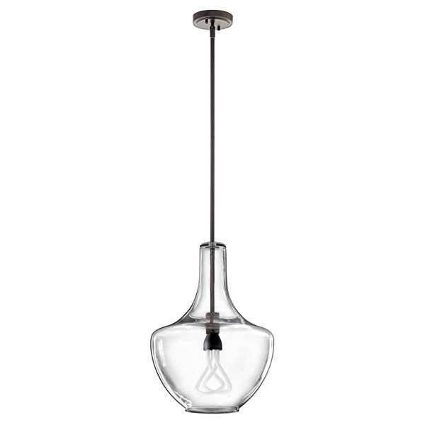 "Everly™ 19.75"" 1 Light Bell Pendant Clear Glass Olde Bronze®"