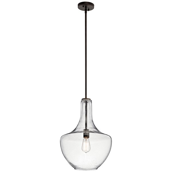 "Everly™ 19.75"" 1 Light Bell Pendant Clear Seeded Glass Olde Bronze®"