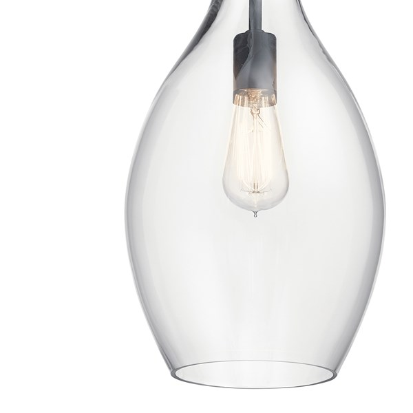 "Everly™ 17.75"" 1 Light Hour Glass Pendant Clear Glass Black"