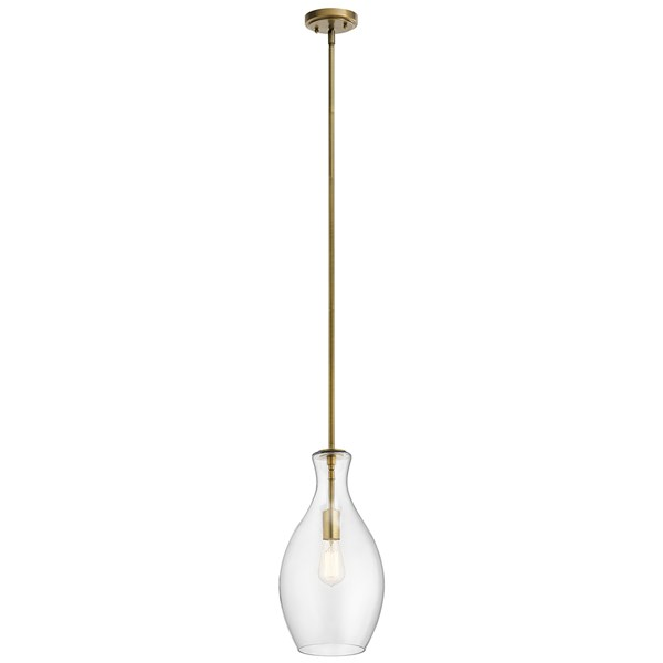 "Everly™ 17.75"" 1 Light Hour Glass Pendant Clear Glass Natural Brass"
