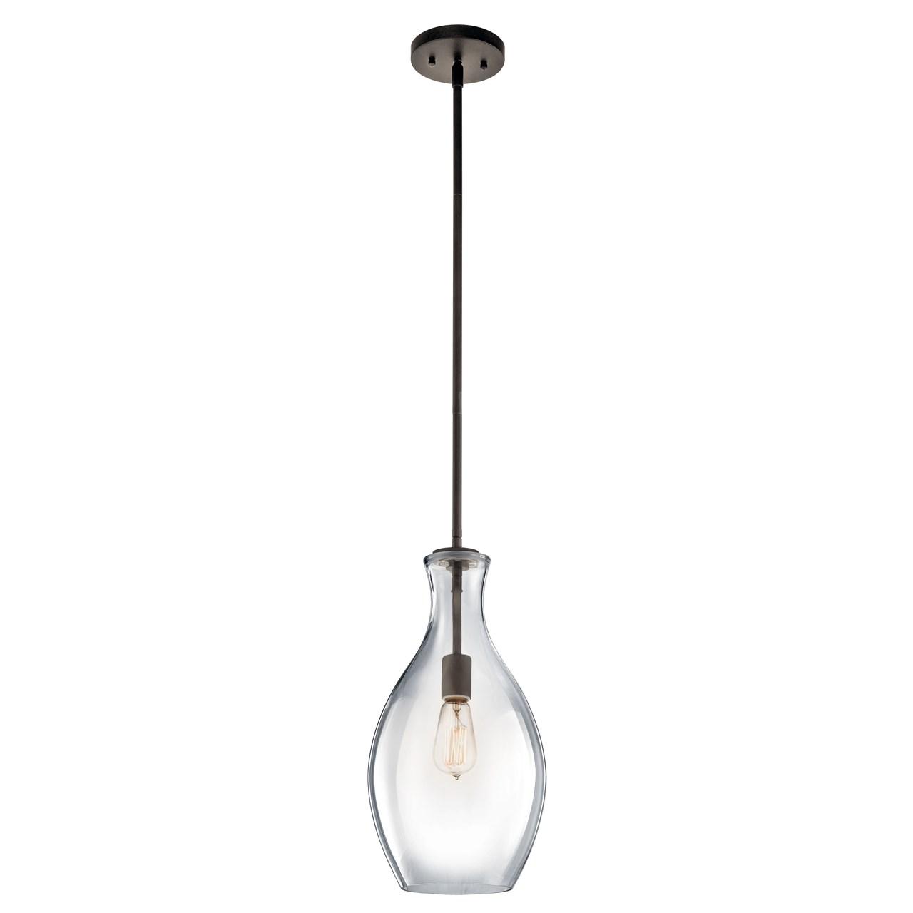 "Www Kichler: Everly™ 17.75"" 1 Light Pendant Clear Glass Olde Bronze"