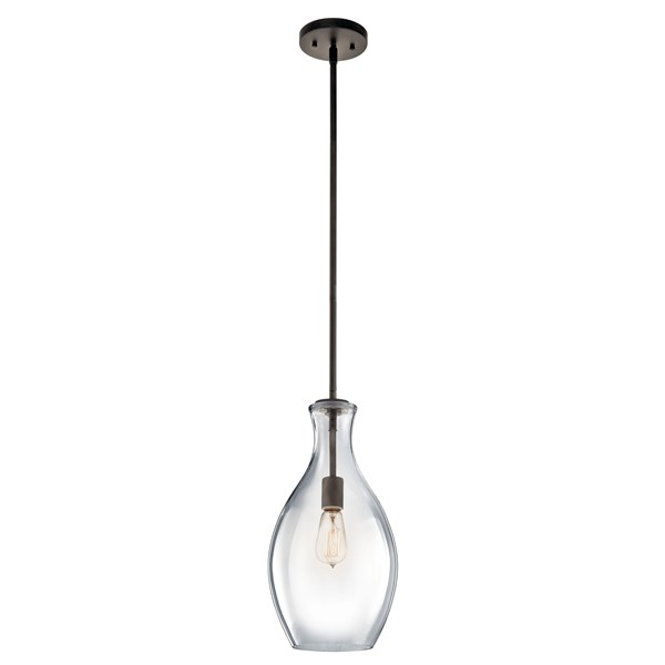 "Everly™ 17.75"" 1 Light Hour Glass Pendant Clear Glass Olde Bronze®"
