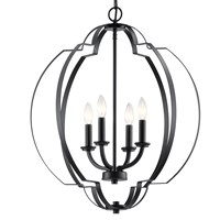 "Voleta 26.25"" 4 Light Foyer Pendant Black"