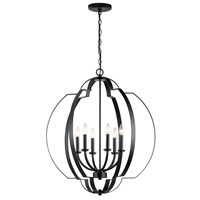 "Voleta 27.75"" 6 Light Foyer Chandelier Black"