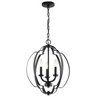 "Voleta 20.75"" 3 Light Pendant Black"