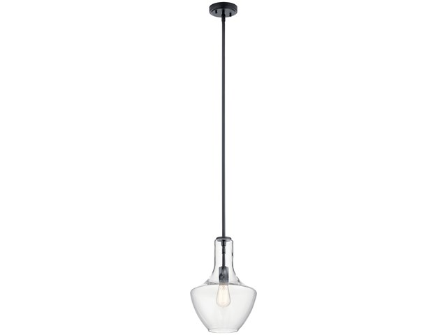 "Everly™ 15.25"" 1 Light Bell Pendant Clear Glass Black"