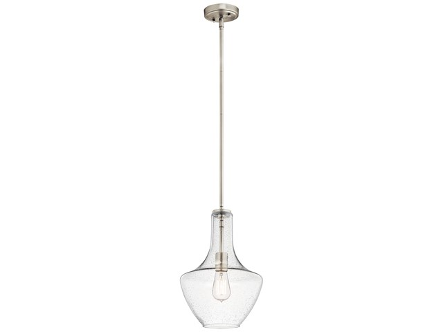 Everly™ 1 Light Wide Curve Pendant Brushed Nickel with Clear Seeded Glass