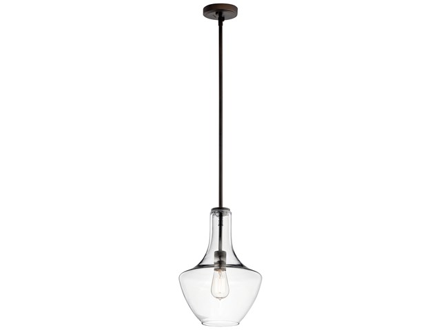"Everly™ 15.25"" 1 Light Wide Curve Pendant Clear Glass Olde Bronze®"