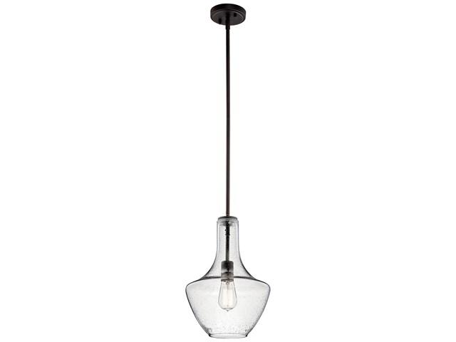Everly™ 1 Light Wide Curve Pendant Olde Bronze® with Clear Seeded Glass