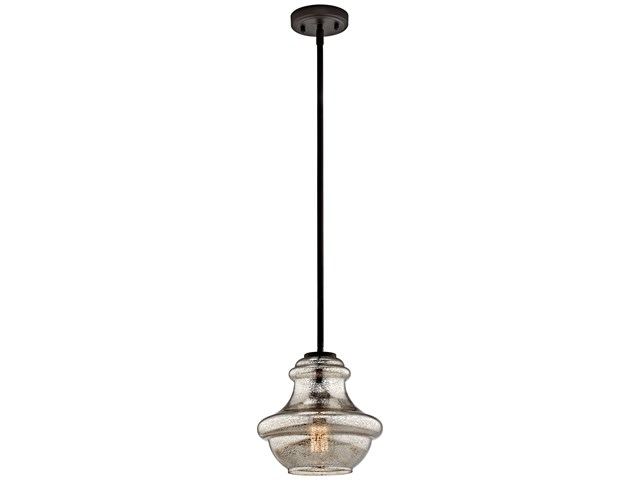 "Everly™ 9.25"" 1 Light Mini Schoolhouse Pendant Mercury Glass Olde Bronze®"