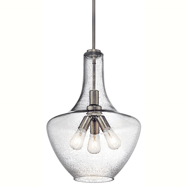 "Everly™ 22.75"" 3 Light Bell Pendant Clear Seeded Glass Brushed Nickel"