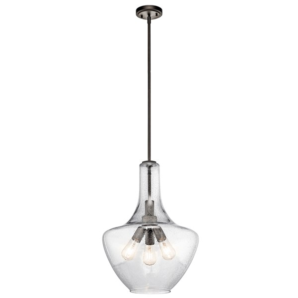 "Everly™ 22.75"" 3 Light Bell Pendant Clear Seeded Glass Olde Bronze®"