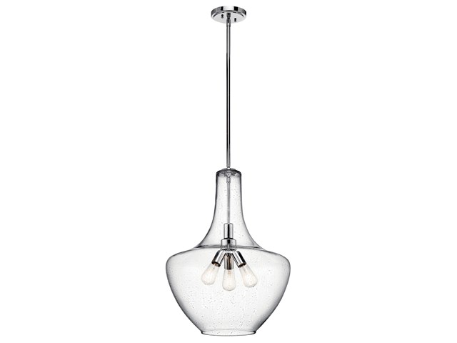 "Everly™ 27.5"" 3 Light Bell Pendant Clear Seeded Glass Chrome"