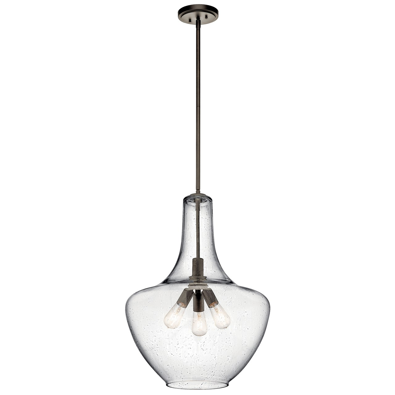 Everly 27 5 3 Light Pendant Clear Seeded Gl Olde Bronze