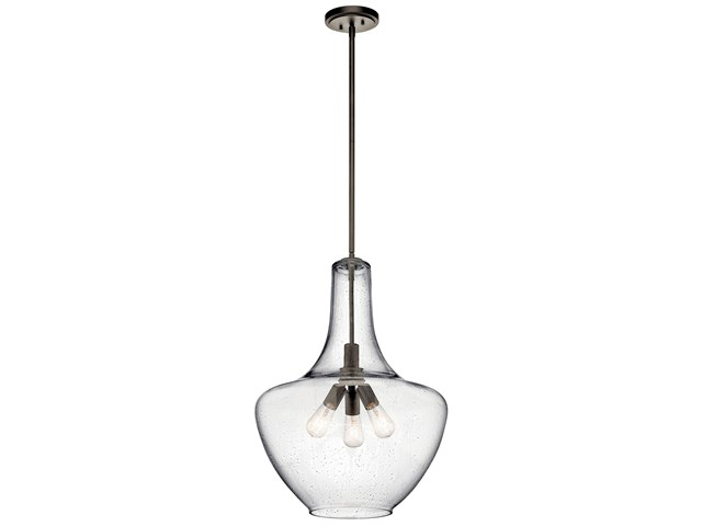"Everly™ 27.5"" 3 Light Bell Pendant Clear Seeded Glass Olde Bronze®"