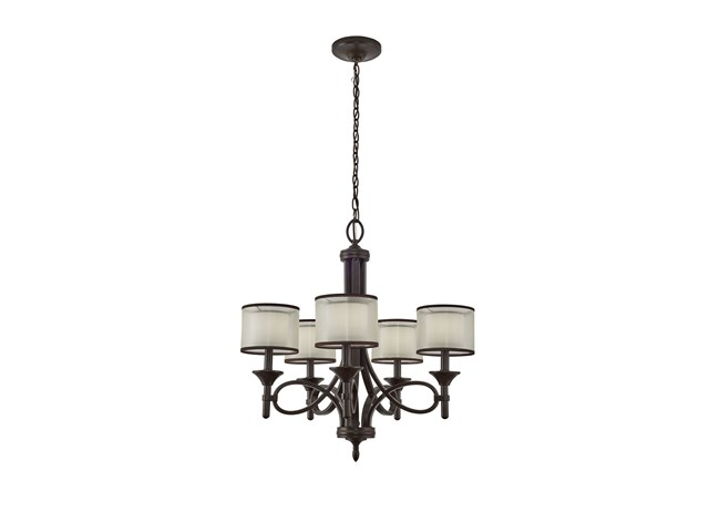 Lacey 5 Light Chandelier Mission Bronze