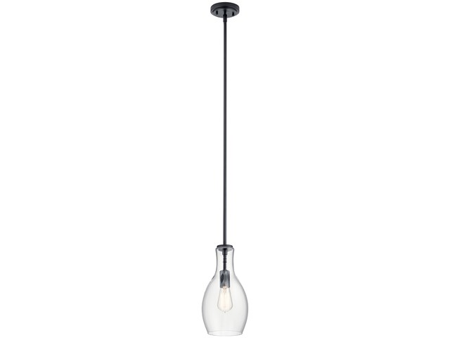 "Everly™ 13.75"" 1 Light Hour Glass Pendant Clear Black"