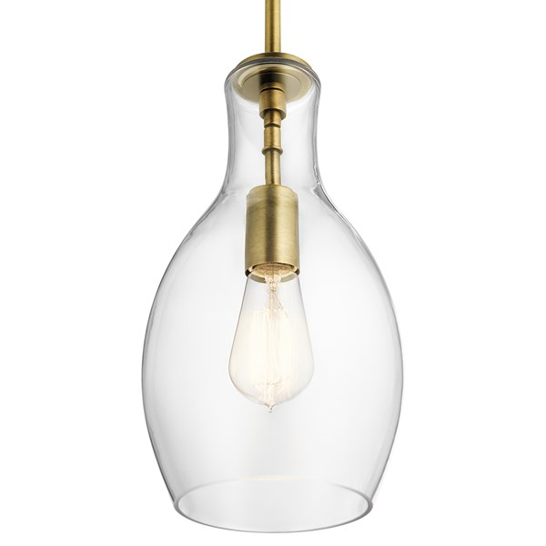 "Everly™ 13.75"" 1 Light Hour Glass Pendant Clear Glass Natural Brass"