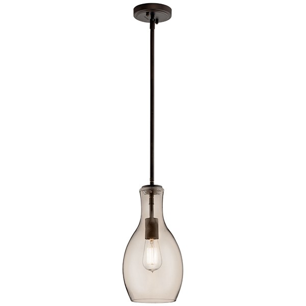 "Everly™ 13.75"" 1 Light Hour Glass Pendant Champagne Glass Olde Bronze®"