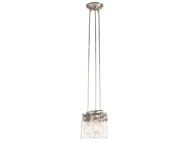 "Brinley™ 7.75"" 3 Light Pendant with Clear Glass Brushed Nickel"