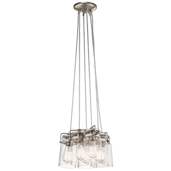 "Brinley™ 7.75"" 6 Light Pendant with Clear Glass Brushed Nickel"