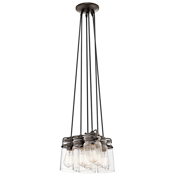 "Brinley™ 7.75"" 6 Light Pendant with Clear Glass Olde Bronze®"