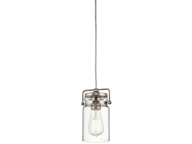 "Brinley™ 7.75"" 1 Light Mini Pendant with Clear Glass Brushed Nickel"