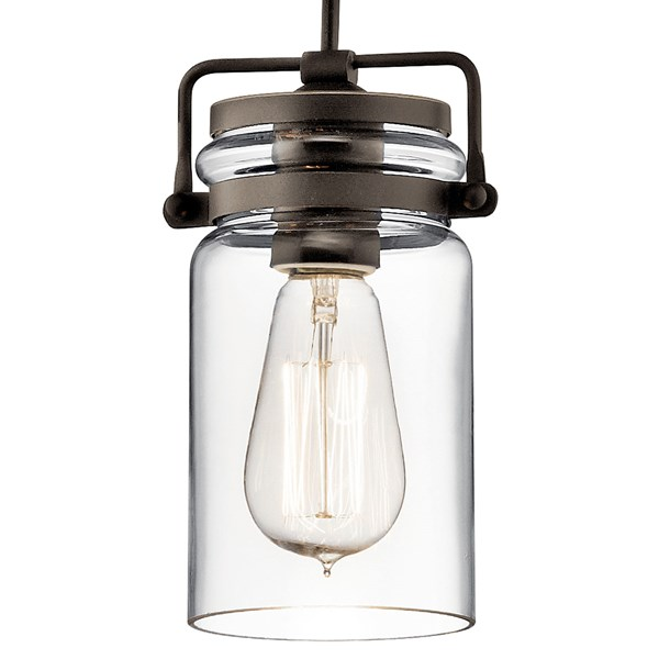 "Brinley™ 7.75"" 1 Light Mini Pendant with Clear Glass Olde Bronze®"
