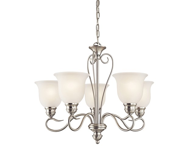 Tanglewood™ 5 Light Chandelier with LED Bulbs Brushed Nickel