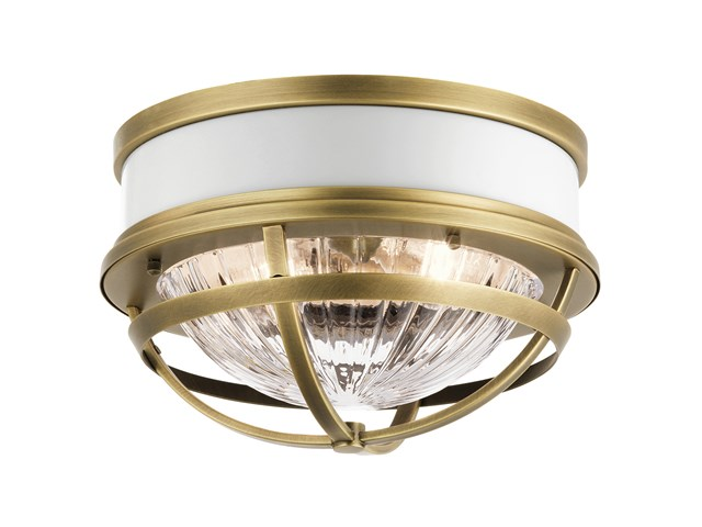 "Tollis™ 12"" 2 Light Flush Mount Natural Brass"
