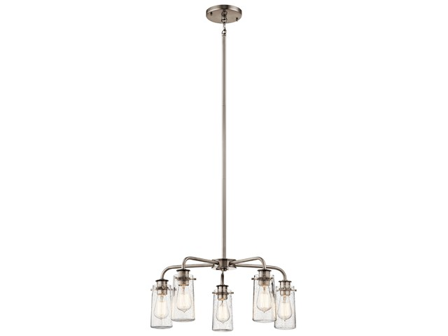 "Braelyn™ 11.25"" 5 Light Chandelier with Clear Seeded Glass Classic Pewter"