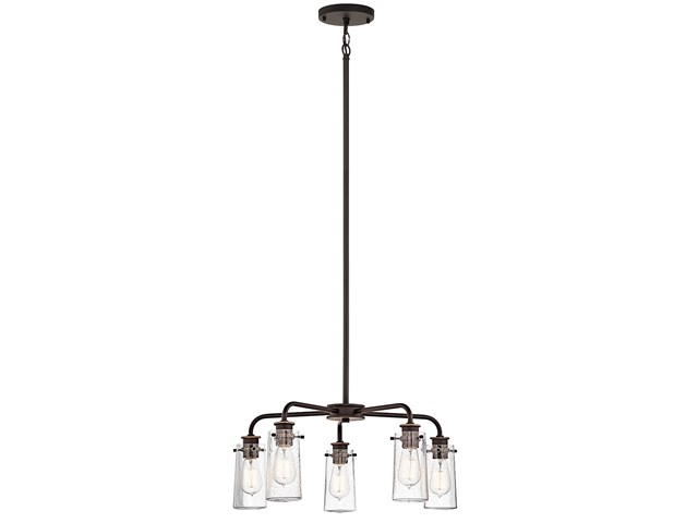 "Braelyn™ 11.25"" 5 Light Chandelier with Clear Seeded Glass Olde Bronze®"