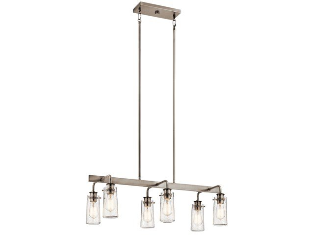 "Braelyn™ 11.25"" 6 Light Linear Chandelier with Clear Seeded Glass Classic Pewter"