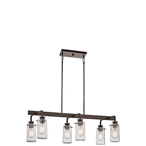 "Braelyn™ 11.25"" 6 Light Linear Chandelier with Clear Seeded Glass Olde Bronze®"