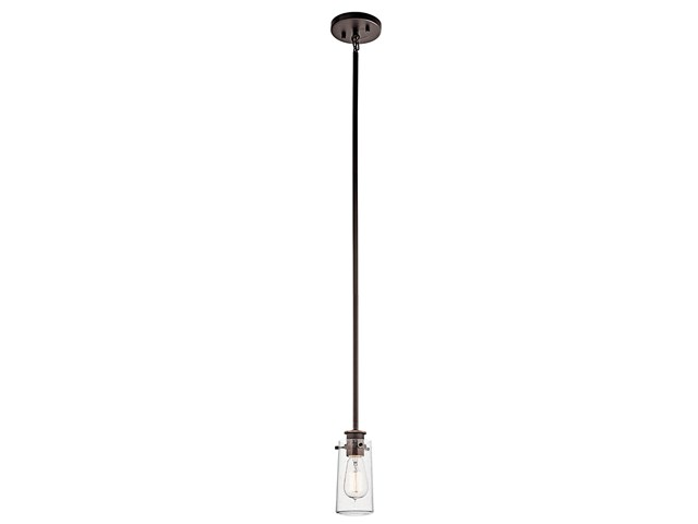 "Braelyn™ 8.5"" 1 Light Mini Pendant with Clear Seeded Glass Olde Bronze®"