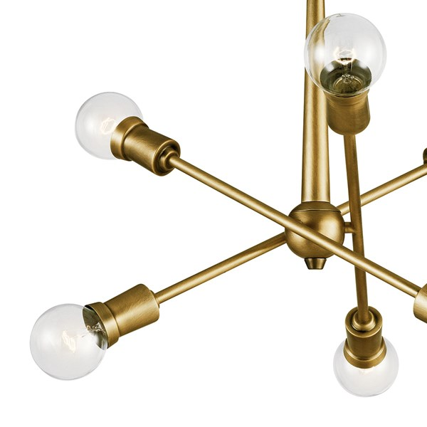 Armstrong 6 Light Chandelier Natural Brass