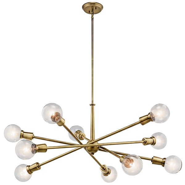 Armstrong 10 Light Chandelier Natural Brass