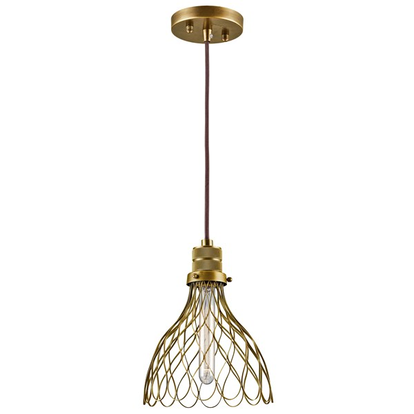 "Devin 7.75"" 1 Light Mini Pendant Natural Brass"