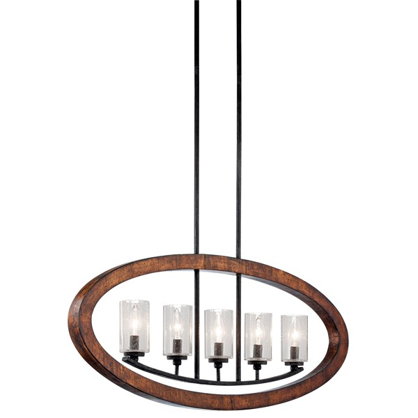 Grand Bank™ 5 Light Linear Chandelier Auburn Stained™