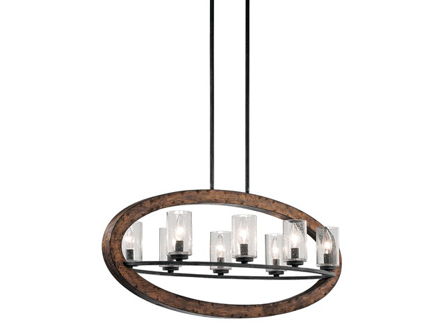 Grand Bank™ Oval 8 Light Chandelier Auburn Stain