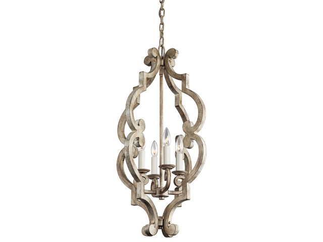 Hayman Bay™ 4 Light Foyer Pendant Distressed Antique White