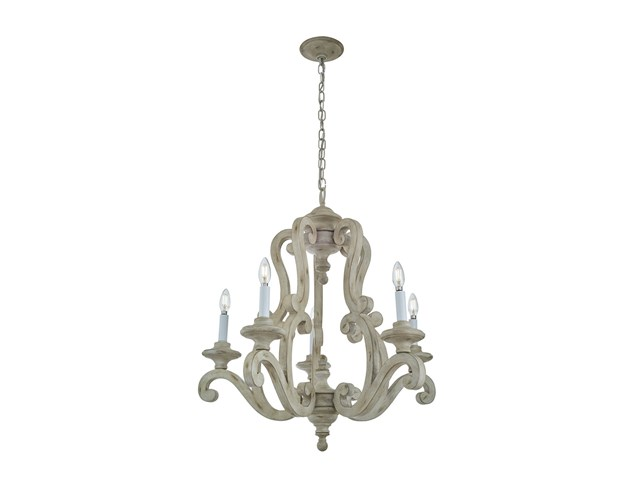 Hayman Bay™ 5 Light Chandelier Distressed Antique White