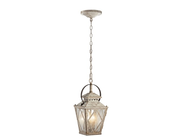 "Hayman Bay™ 18"" 2 Light Pendant Clear Seeded Glass Distressed Antique White"