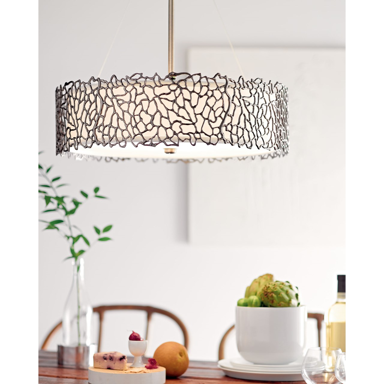 Silver Coral 4 Light Chandelier / Pendant Clasic Pewter